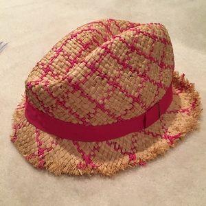 BCBGMazAzria Tan and Pink Straw Hat